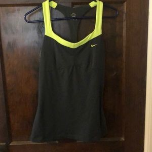 Nike gray and lime green tank top w built in bra